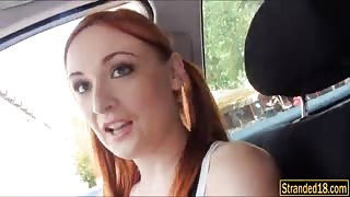 Pigtailed redhead cheerleader Eva Berger drilled by stranger