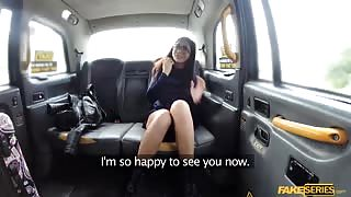 Busty Julia De Lucia perfect pussy gets fucked in the taxi