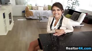 Beautiful realtor girl Adria Rae slammed hard by a guy who looked for an apartment