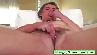 Granny toy pounding big hairy snatch