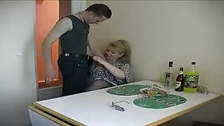 Slut Dame Spreads At The Table
