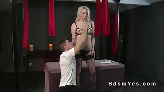 Tied up blonde pussy licked in dungeon