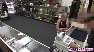 Horny big cock fucked a sweet innocent teen pussy in the shop