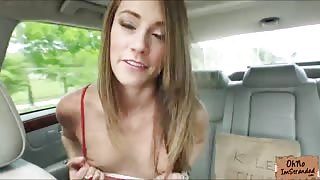 Hot Kirsten Lee craves for her drivers cock in the backseat