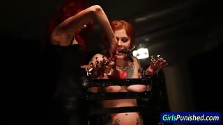 Restrained slave whipped and toyed