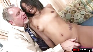 Sweet Latina babe Ruby Rayes enjoying a 69 pistion with her stepdad