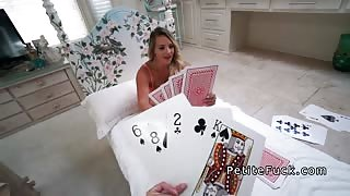 Petite teen plays huge cards and huge cock
