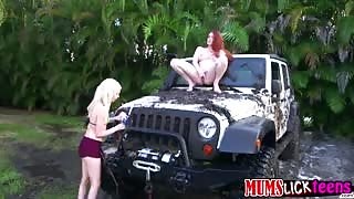 Slut stepmum Veronica fucks teen Piper in the car wash