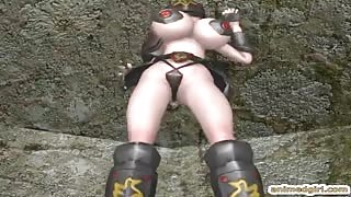 3d hentai shemale with four boobs fucked a bondage animated girl