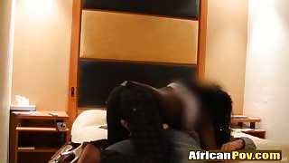 African chick riding white long schlong in bedroom