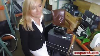 Hot blonde MILF pounded by pawn keeper in storage room