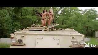 Nude Hotties Driving a Tank!