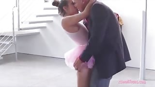 Cute teen ballerina Cassidy Klein hard fucked by fat dick