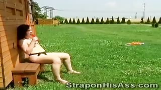 Strapon cowgirl pleases her horny boyfriend outside