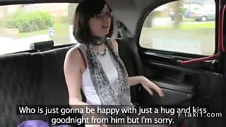 Busty British teen banging in fake taxi