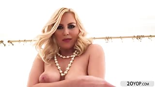 Blonde steaming hot babe Summer Day sucked the stud monster cock and balls.