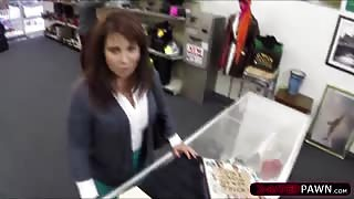 Brunette MILF needs money to bail her husband and sells his stuff