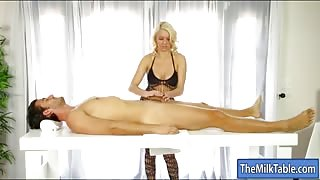 Busty blonde masseuse Kenzie Taylor sucks and facialed