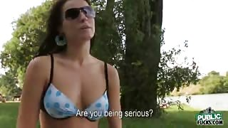 Sun tanning Jana drilled in the woods with stranger for some money