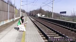 Shows her ass in public and masturbation on toilet brunette