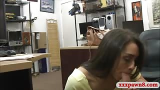 Hot brunette woman railed by pawn dude at the pawnshop