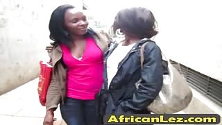 African lesbians engage in some dyke action in the bathroom
