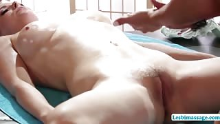 Huge tits Penny strolls inside the back rub space for a back rub