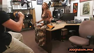 Busty bitch pawns her stuff and screwed by pawn dude