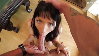 POV Sex tape with tight bald pussy