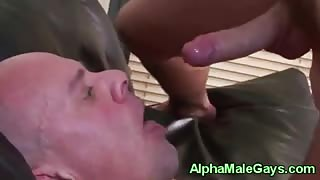 Gay stud rimming a pals ass close up