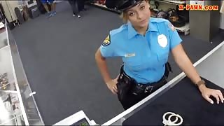 Latin police officer pounded by pawn guy at the pawnshop