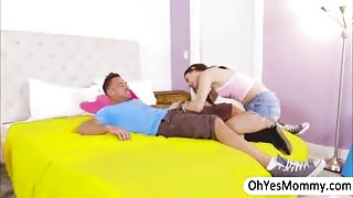 Stepmom Reagan Fox voyeurs to teen Lucie riding on is bfs dick