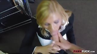 Hot blonde milf pounded in storage room by horny pawn man