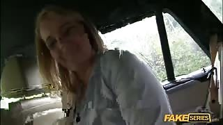 Public cab owner gets to fuck his Busty Passenger