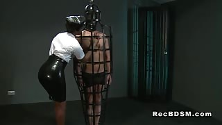 Ebony mistress fucks tied up slave