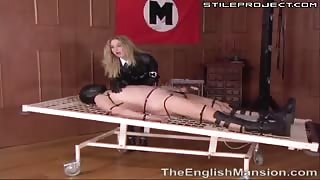 Guy gets his dick and balls electrified by dominatrix
