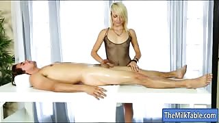 Hot blonde masseuse Carmen Callaway pounded by client