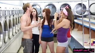 Two hot teen besties sharing on warm cumload in laundry area