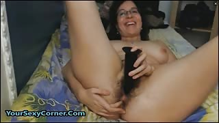 MILF Has Hairy Pussy And Ass For Hardcore Toying