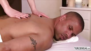 Black dude Robert Axels gets a free massage and a chance to fucked Vixen Goddess shemale ass