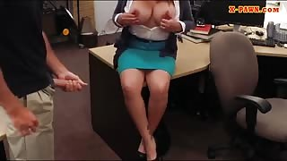 Hot MILF fucked by pawn keeper to bail out her husband