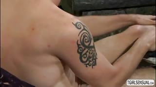 Shemale beauty River Stark gets wild in an anal fuck