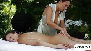 Red hot lesbos sensual sex after massage