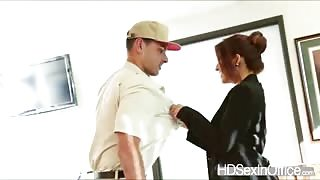 Hot Isabelle de Santos takes out the package and delivery mans very stiff cock
