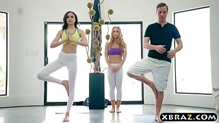 Yoga session of a guy turns into a threesome with two babes