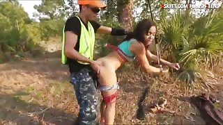 Poor Adrian Maya fucked rough while tied up in the woods
