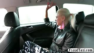 Cute blonde passenger fucked for free taxi fare
