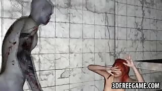 Foxy 3D redhead babe riding a zombies hard cock