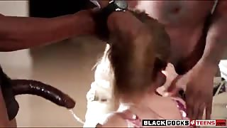 April Brooks smashed by two black boners in the kitchen