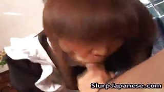 Wanton Asian Housewife  Sticks Stiff Unit Down Mouth